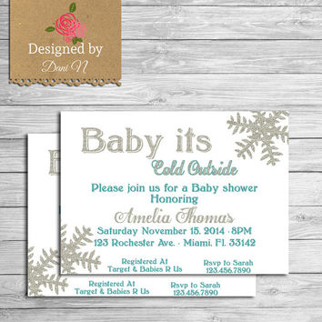 Baby shower invite, glitter baby shower, invitation, printable, baby its cold outside, white, teal, chalkboard