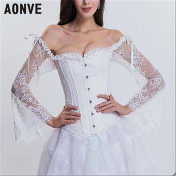 AONVE Women Steampunk Corset Gothic Bustiers Long Sleeves Off Shoulder Sexy Corsets For Wedding Cosplay Show Waist Trainer Tops
