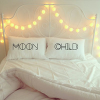 moon child // 100% cotton, pillowcase, set, boho decor, hippie, gypsy, handmade