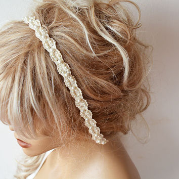 Wedding Hair Accessory, Pearl Wedding Headband, Bridal  Pearl Headband, Bridal Hair Accessory, Lace pearl Hair