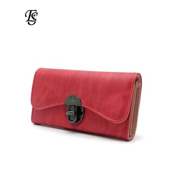 Vintage Fashion Women Wallet 2018 Casual PU Leather Long Wallet Clutch Purse High Quality Metal Hasp Womens Wallets And Purses