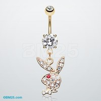 Golden Playboy Bunny Dangle Belly Button Ring