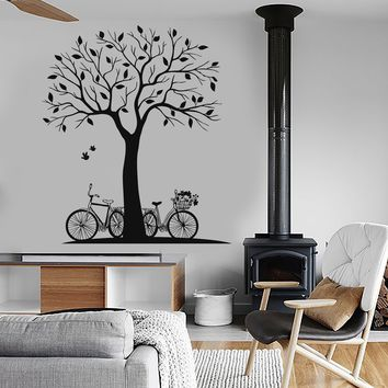 Vinyl Wall Decal Tree Bike Nature Bird Room Decoration Stickers Unique Gift (ig3593)