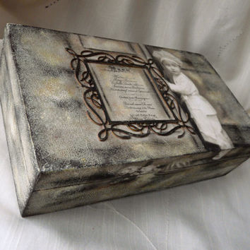 Recipe Wooden Box, Kitchen Decor Box, Shabby Chic Box, Wooden Decoupage Box, Storage Kitchen Box, Restaurant Decoration