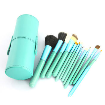 Professional 12Pcs/set  Nylon Hair&Wool Soft and Comfortable Touch Cup Holder Leather Case Make Up Brushes Tools