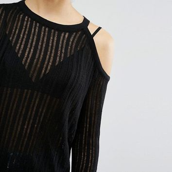ASOS Jumper In Pointelle Stitch With Cold Shoulder at asos.com