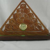 Pool Ball Rack Desk / Shelf Clock With Pool Table Stand Handmade From Cherry And Walnut Wood