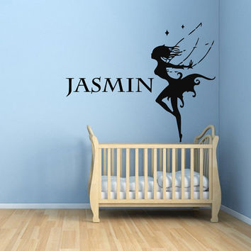 Wall Decals Girl Personalized Name Tinkerbell Elf Home Interior Design Vinyl Decal Sticker Art Mural Bedding Nursery Baby Room Decor KG272