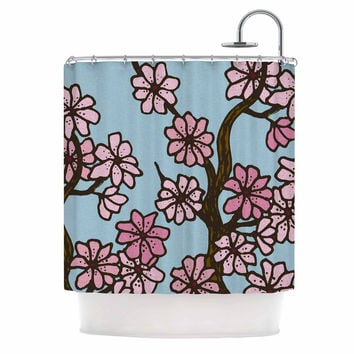 "Art Love Passion ""Cherry Blossom Day"" Floral Illustration Shower Curtain"