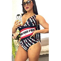 FENDI Summer Newest Women Fashion Print V Collar Vest Type One Piece Bikini Swimsuit Bodysuit