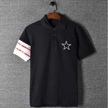 ca qiyif Classic striped stars Fashion Polo Shirt