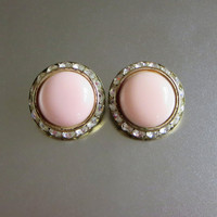 "Vintage Channel Set Earrings, Pale Pink Lucite & Rhinestones, UFO Dome Flying Saucer Earrings, ""Keep Watching the Sky!"""