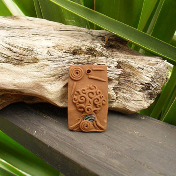 Carved Tree Of Life Pendant,  Boho Necklace, Handcrafted Fantasy Pendant, Tree Necklace, Clay Art Pendant, FREE SHIPPING