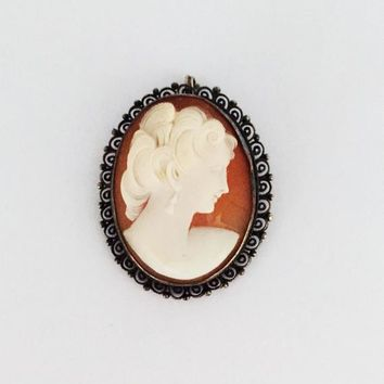 fca095fe3cac5 Carved Cameo Orange Glass Pendant Oval Frame Edwardian Victorian