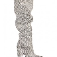 Blessings Diamante Embellished Knee High Slouch Boots In Black Faux Suede