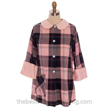 Vintage Man Tailored Tommies Cotton Smock Housewife Pink & Black I Love Lucy 1950s
