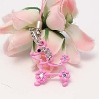 Pink Poodle Figure Cell Phone Charm Strap Rhine Stone