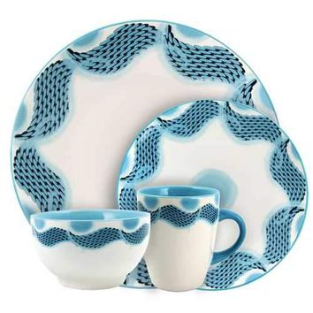 Elama Seashore Breeze 16 Piece Service for 4 Stoneware Dinnerware Set