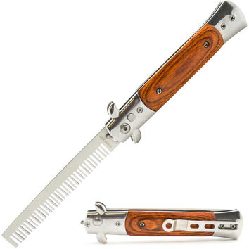 Automatic Push Button Folding Comb Switchblade Knife Wood Handle