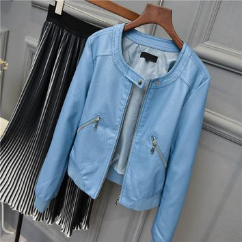 Faux Leather jacket Women O-neck Zipper Casual Jacket Female Short Jacket Coat Plus Size S-5XL