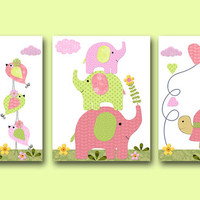 Elephant Nursery Giraffe Nursery Turtle Nursery Baby Girl Nursery art print Children Wall Art Baby Room Decor Kids Print set of 3 8x10 rose