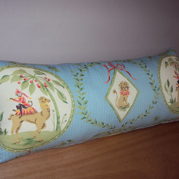 25x10 Whimsical Blue Toile Nursery Lumbar Pillow - Pillow Insert Included - Baby Shower Gift