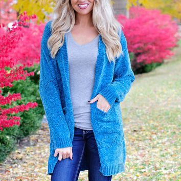 * Laying Low Chenille Cardigan - Teal