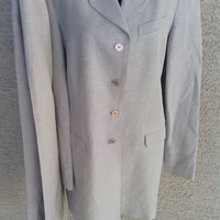 Halston Pantsuit Silk and Linen Size 10 Vintage 80s Authentic Halston Taupe/ gray/ Olive color 4 button front classic style