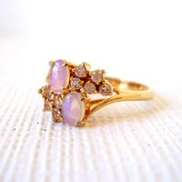 Vintage Opal and Rhinestone Cocktail Ring 18K Gold Plate