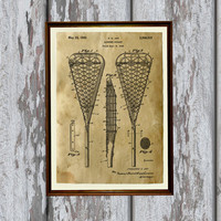 Lacrosse stick print Sport poster Patent art Antique home decor AKP165