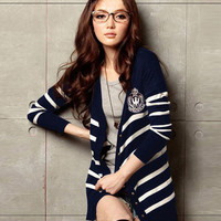 2012 New Style Korea Women\'s Casual Striped Autumn Long Cardigans