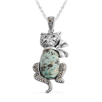 Howlite Sterling Silver Cat Pendant With Chain