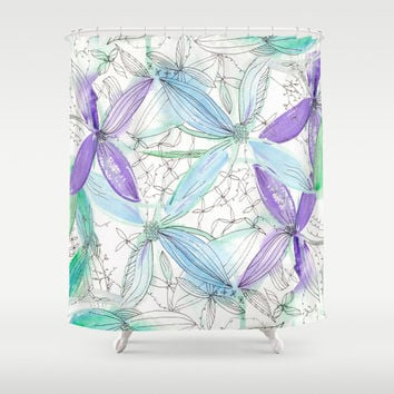 Spring Floral Shower Curtain - Watercolor purple and teal flowers, gorgeous, spring pattern - beautiful colorful blue, green, extra long