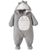 Baby Boy Clothes Newbon Quality 100% Cotton Hooded Rompers Cartoon Totoro Thick Warm Infant Jumpsuit Winter Baby Clothes Outfits