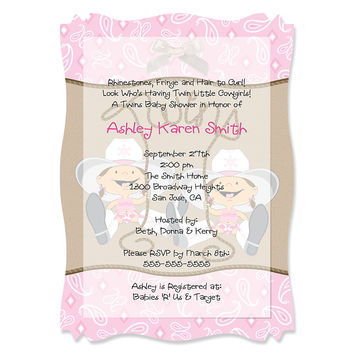 Twin Little Cowgirls - Personalized Baby Shower Vellum Overlay Invitations
