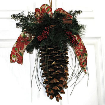 Sugar Pine Cone Winter Decor Accented with Lots of Faux Greens - (#300.5)