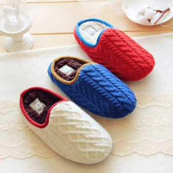Home 3-color Couple Winter Cotton Slippers [8102200769]