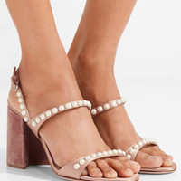 Miu Miu - Faux pearl-embellished satin and velvet sandals