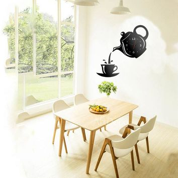 Teapot Clock Wall Mirror Effect Coffee Cup Shape Decoration Home Decor Kitchen,