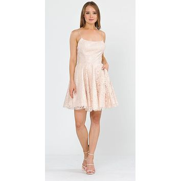 Homecoming Short Dress with Pockets Champagne