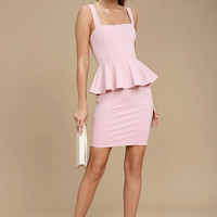 One More Kiss Blush Pink Peplum Dress
