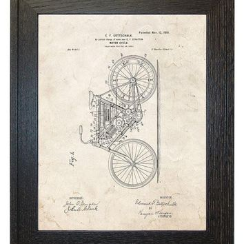 Framed Patent Art - Motor-cycle WITH Real Rustic Wood Frame - Framed Patent Print