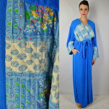 70s Terry Cloth Robe House Coat Floral Quilted Retro Hippie Soft Grunge Hipster Hooded Bath Robe Medium Large Long Blue Fuzzy Groovy