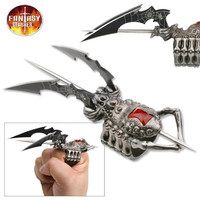 FANTASY SPIDER DESIGN RING KNIFE WITH 2 BLADES AND SPIKE