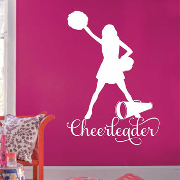 Cheerleader Pom Poms Megaphone | Sports Decal | Vinyl Wall Lettering