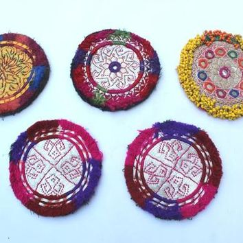A Set of 05 Assorted Banjara Small Patches Tribal Beads Baby Patche Ethnic Medallions Vintage Gypsy Embellishment Patches Tribal Hippie Boho