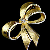 Bow Brooch with Rhinestones Brushed Gold Tone Signed Avon