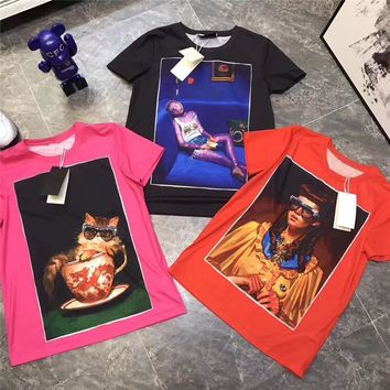 """Gucci Ignasi Monreal"" Women Casual Fashion Oil Painting Portrait Print Short Sleeve T-shirt Tops Tee"