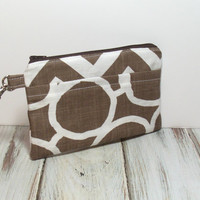 Brown iPhone Clutch - Cute Clutch Bag - Womens Clutch - Cell Phone Wallet - Brown Chevron - Clutch Purse - Summer Clutch - Small Clutch Bag