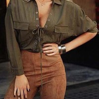 Pocket Design Lace Up Army Green Shirt